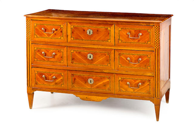 A North Italian walnut and parquetry inlaid commode Circa 1790