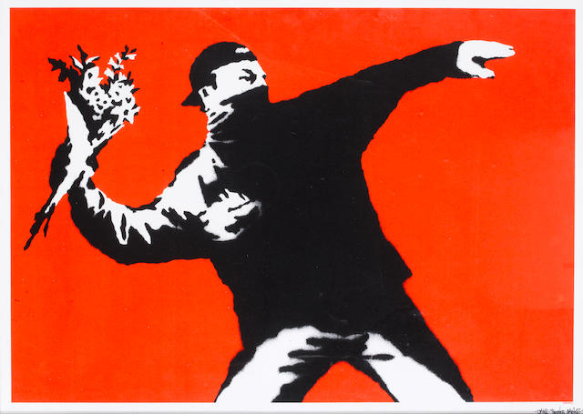 Banksy (b.1975) Love Is In The Air signed and inscribed Jake thanks Banks screenprint on paper 50 by 70 cm. 19 11/16 by 27 9/16 in. This work was executed in 2003 and is an artist's proof aside from the edition of 150.