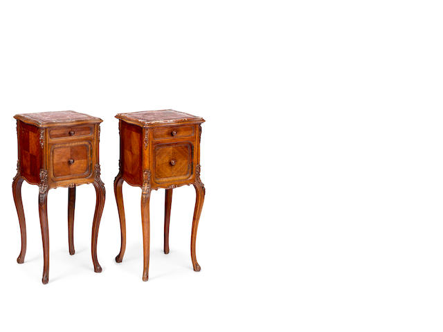 A pair of Louis XV style walnut and marble bedside cabinets French, circa 1890