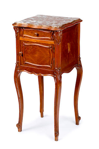 A Louis XV style walnut bedside cabinet French, circa 1890