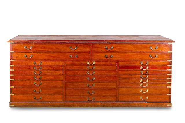 A large early 19th century mahogany and brass bound collectors' cabinet