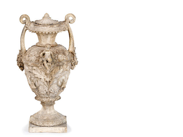 A decorative plaster urn