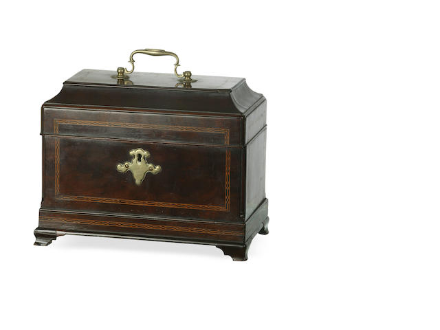 A George III inlaid mahogany tea caddy