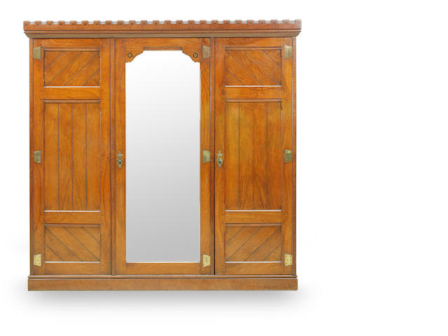 A late 19th Century oak wardrobe