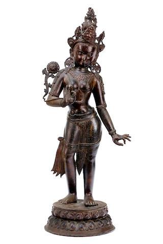 Nepalese bronze figure of Bodhissatva Padmapani 19th century