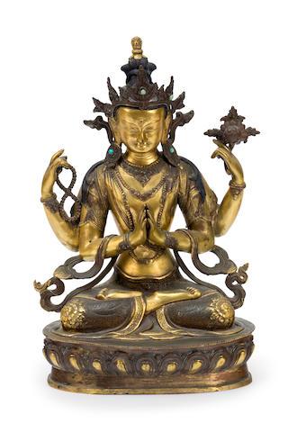 Sino-Tibetan gilded bronze Shadakshari Avalokiteshvara  19th century