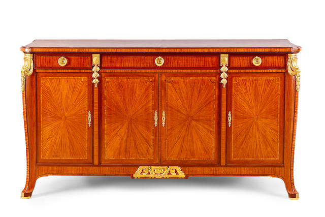 A Louis XVI style satinwood, rosewood and gilt metal mounted buffet