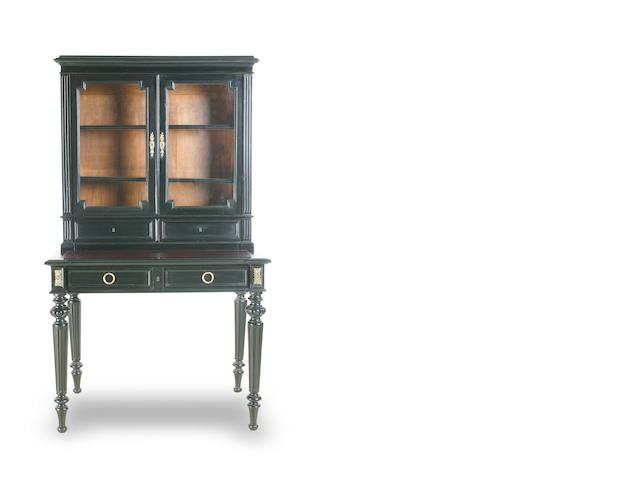 A French ebonised secretaire bookcase