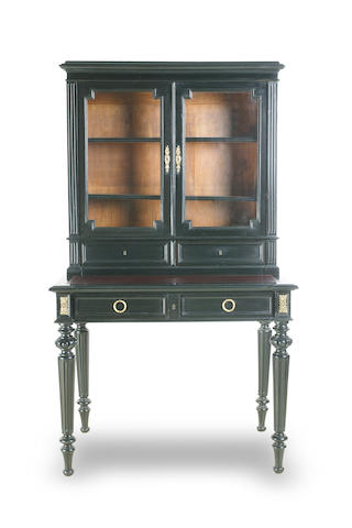 A French ebonised secretaire bookcase