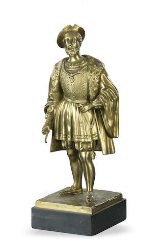 A gilt bronze figure of Henry VIII