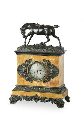 An Empire period bronze and sienna marble mantel clockcirca 1930