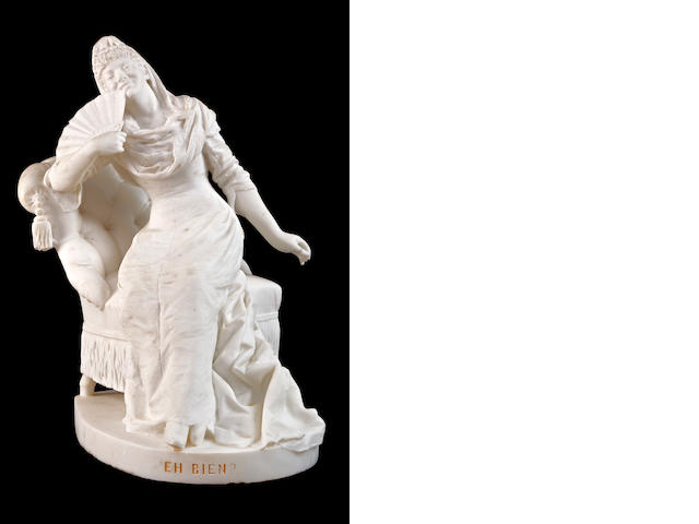 An elegant late 19th century marble group