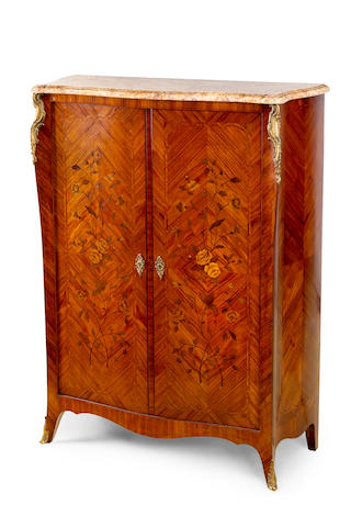 A Louis XV style kingwood and marquetry bomb shaped cabinet