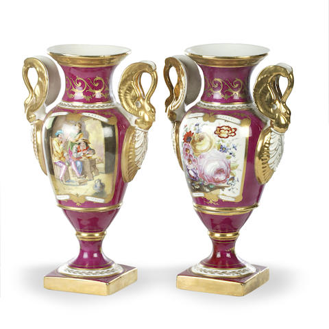 A pair of French 19th century hand painted and gilt decorated vases