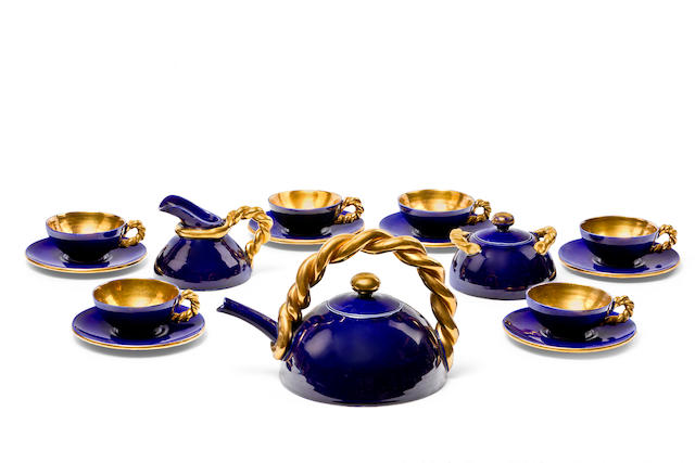 A colbalt blue and gilt tea set
