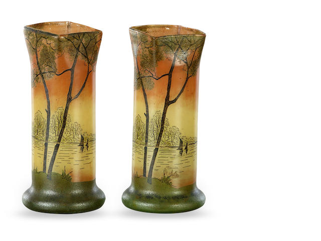 A pair of Art Deco coloured glass and enamel decorated vases