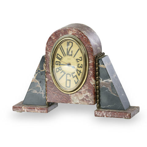 A French Art Deco marble clock