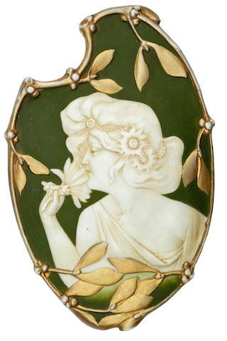 An Art Nouveau porcelain painted and gilt decorated panel