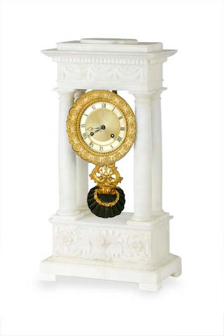 A French white alabaster portico marble mantel clock.