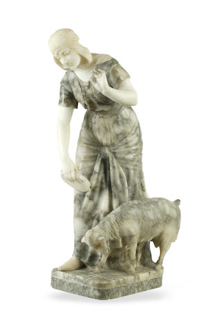 An Art Deco marble and alabaster figure of a girl with a goat