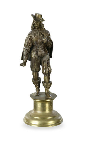 An early 20th century bronze figure of a cavalier