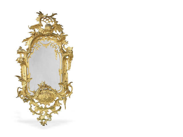 An early 19th century cast bronze wall mirror