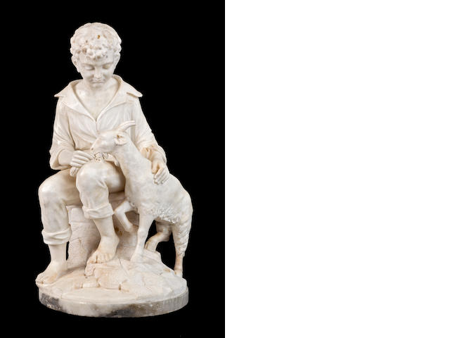A late 19th century marble group of a boy with a goat