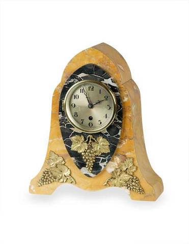 An Art Deco marble mantle clock