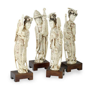 A group of four ivory Chinese figures