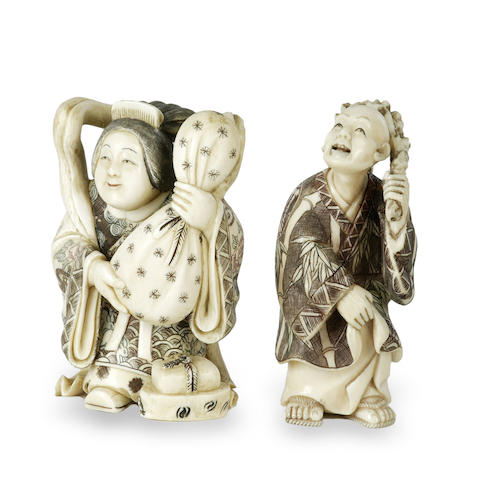 Two Chinese carved ivory figures 19th century
