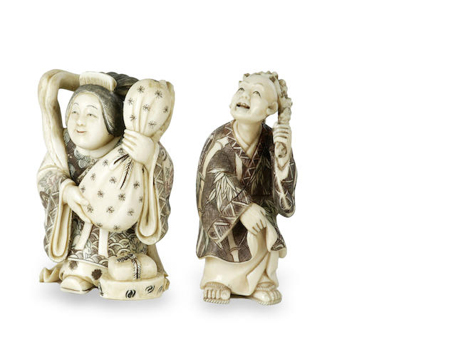 Two Chinese carved ivory figures  incised marks, Minjiang,