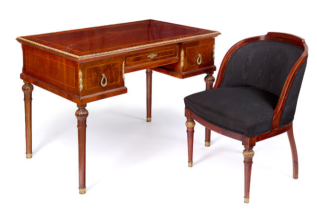 A Transitional thuya, mahogany and gilt metal mounted desk