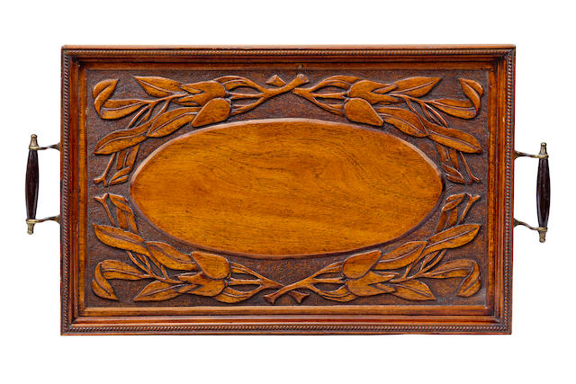 An early 20th century carved cedar tray