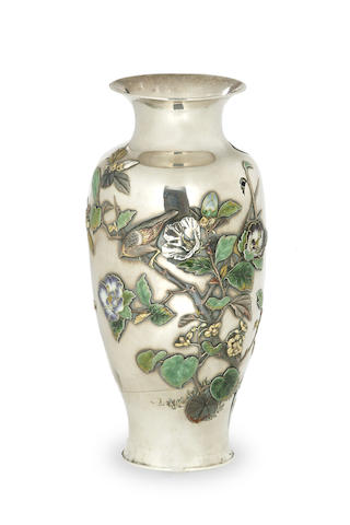 A Japanese silver vase Meiji period