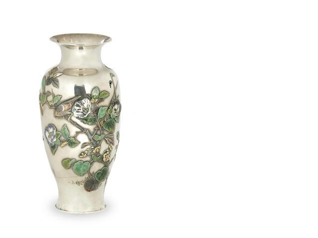 A Japanese silver vase Meiji period