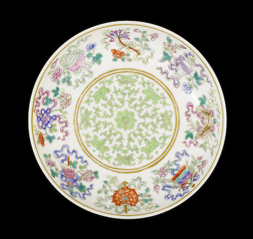 An extremely rare famille rose 'bajixiang' dish Tongzhi