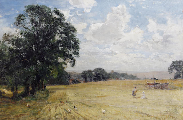 James Aumonier, R.I. (British, 1832-1911) Children in a field