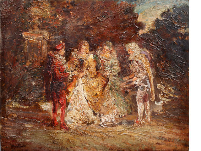 Continental School, Late 19th/ Early 20th Century Group of figures in a classical landscape