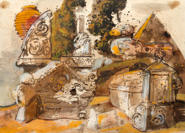 Eugene Berman - Ruins watercolour