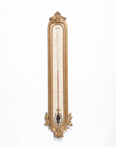 A mid 19th century French giltwood wall thermometer