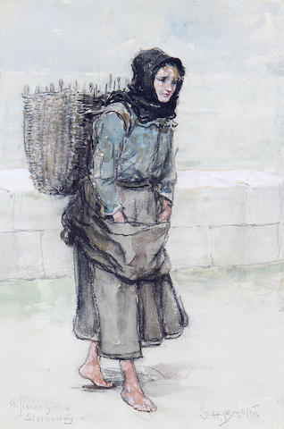 George Henry Boughton (American, 1833-1905) A fishergirl of Stornoway