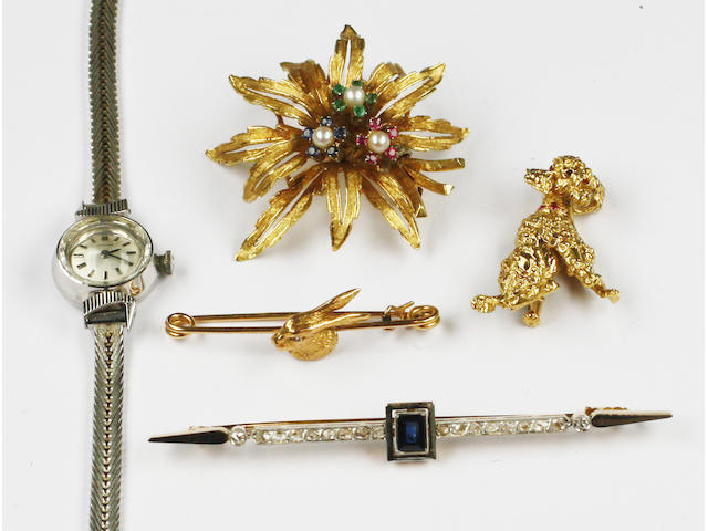 Four brooches and a Certina lady's wristwatch
