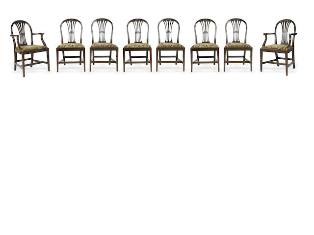 A set of eight George III style dining chairs, including two armchairs