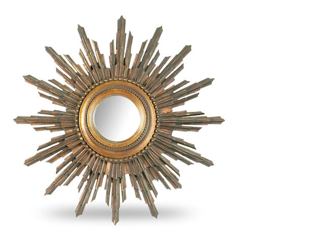 A Regency giltwood sun-burst wall mirror