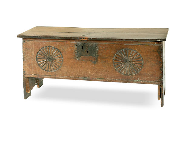 A 17th century oak coffer