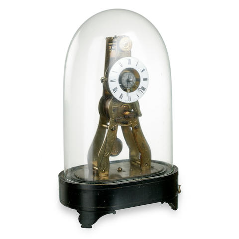 A French brass skeleton clock