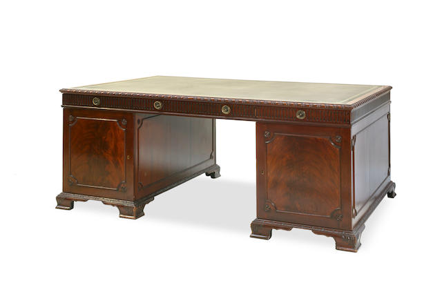 A good Victorian mahogany partner's desk
