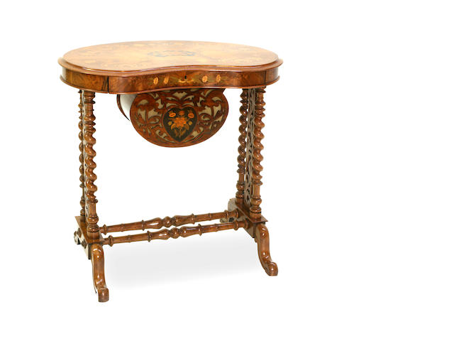 A mid Victorian walnut and marquetry kidney shaped sewing table