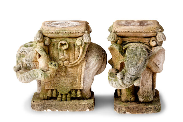 A pair of Indian elephant garden seats 19th century