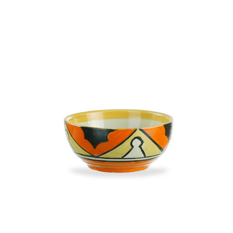 Two Clarice Cliff Bizarre bowls in reverse Keyhole pattern circa 1930